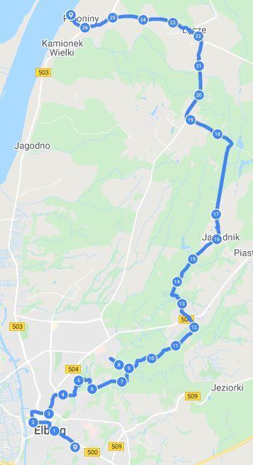Mapa trasy - dzień 1