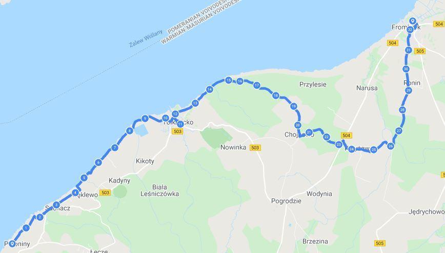Trasa z Nadbrzeża do Fromborka